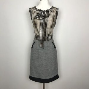 Tory Burch Tweed Skirt Silk Top Bow Dress Size 6